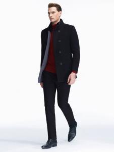 七匹狼男装新品立领带绒大衣