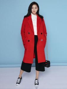 凡兔女装红色西装领大衣