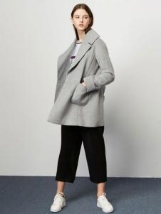 Lily女装灰色中长款呢大衣