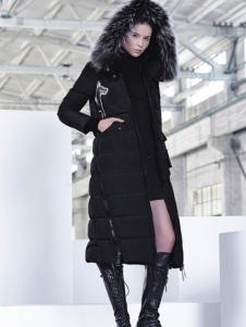 埃文女装秋冬款黑色连帽长款羽绒服