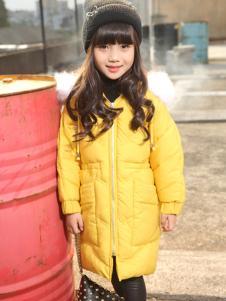 乔克叔叔童装女童黄色中长款棉服
