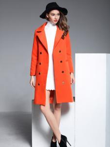 彤欣格橙色双排扣呢大衣