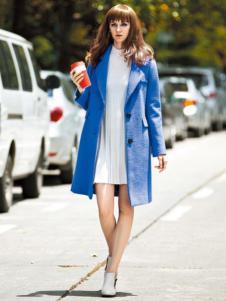让爱女装宝蓝色西装领大衣