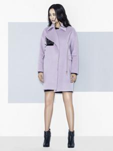 衣架女装紫色翻领大衣