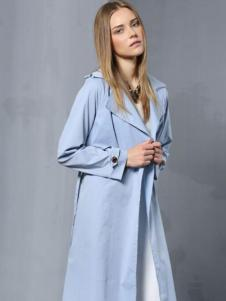 安娜ANNA女装秋冬款蓝色风衣