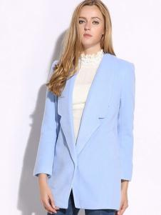 VIVIdion女装蓝色西装领大衣