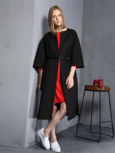 安娜ANNA女装秋冬款黑色收腰大衣