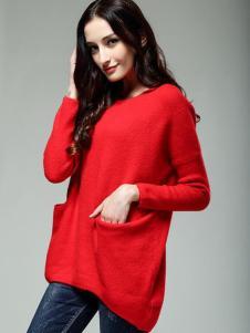 KISSFAD吻时尚女装红色毛衣