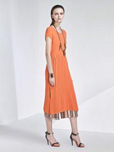 VOING唯一女装新品橙黄色收腰长裙 款号272028