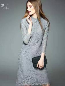 色弋瑞灰色时尚蕾丝连衣裙