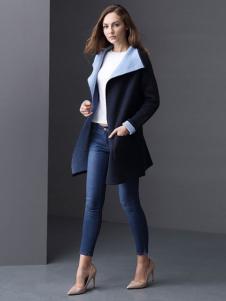 ELLE女装秋冬新品翻领大衣外套