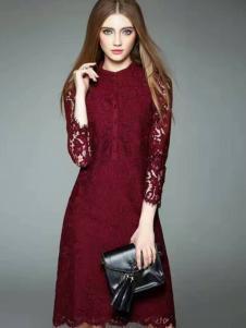 色弋瑞红色蕾丝连衣裙