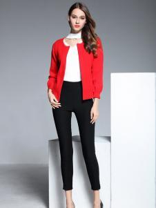 彤欣格红色短款圆领外套