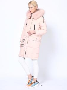 埃文女装秋冬款毛领长款羽绒服
