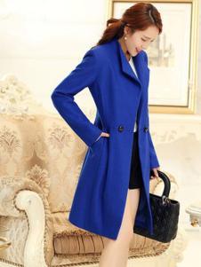 阿珍妮女装蓝色长款修身大衣