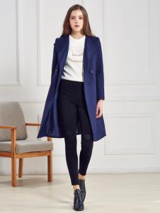 都市衣柜蓝色韩版修身呢大衣
