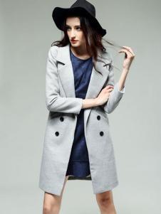KISSFAD吻时尚女装灰色双排扣大衣