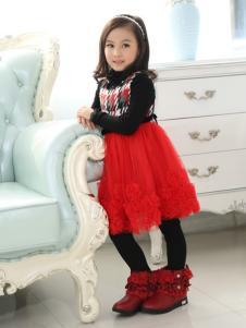 佰林格都童装佰林格都童装秋冬新品红色蕾丝纱裙