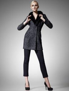 尚影女装毛领修身呢大衣