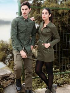 战地休闲装新品军绿色衬衫情侣款