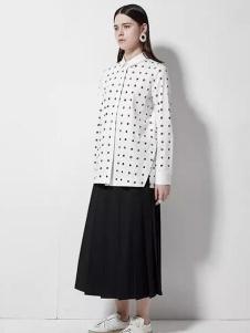 欧蒂芙女装新品波点白衬衫