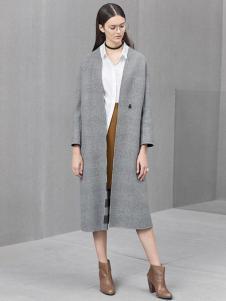 麦檬女装新品灰色直筒大衣