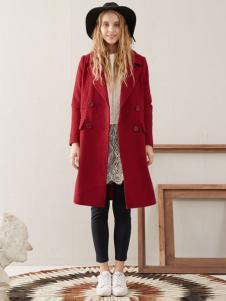 紫淑女装新品酒红色及膝呢大衣