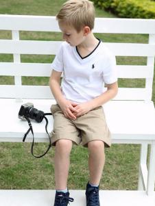 伊顿风尚童装v领白色T恤