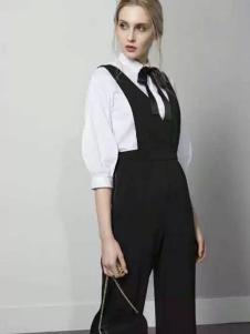 JUST&TH女装2017春装新品黑色背带裤