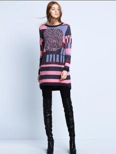 Zopin作品女装时尚撞色长款针织衫