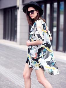 水映女装新品印象派印花雪纺衬衫