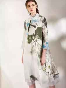 安瑞井女装ORIGIN安瑞井女装2017春装水墨印花连衣裙