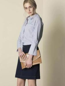 JUST&TH女装2017春装新品条纹衬衫