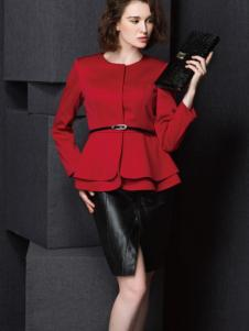 Enaco爱妮格女装红色短款收腰大衣