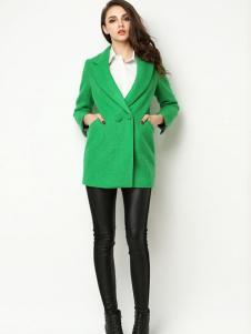 Sanlady女装绿色修身大衣