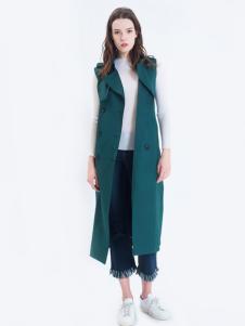 LOFTSHINE女装新品绿色长款马夹
