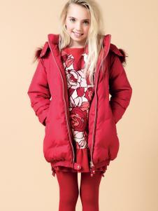 芭乐兔女童冬新款红色羽绒服