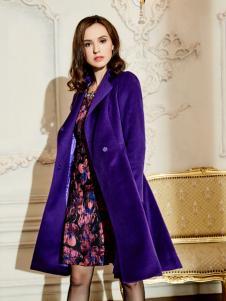 尚约时尚紫色大衣新品