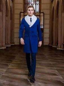 爱登士男装蓝色长款大衣