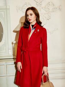 尚约秋冬红色时尚大衣