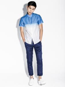 L2男装新品渐变色男士衬衫