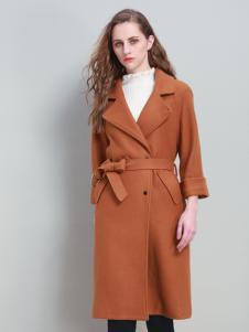 爱为女装七分袖收腰呢大衣