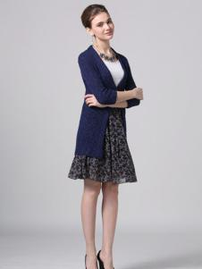 Phidias菲迪雅丝女装宝蓝色针织外套