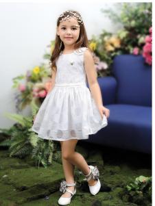 M&Q大眼蛙女童白色连衣裙