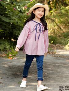 兔子杰罗女童粉色衬衫