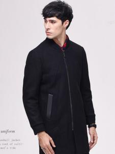 翡翠男装黑色圆领外套