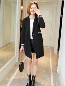 冰轩女士黑色单排扣外套