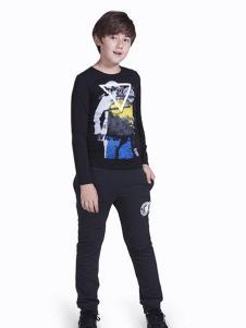 OFFSIDE越位少年装男生黑底彩绘T恤