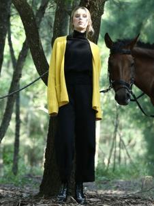 ALSCANA女装新品亮黄色毛线外套