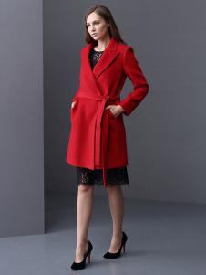 ELLE女装秋冬新品红色带腰带大衣